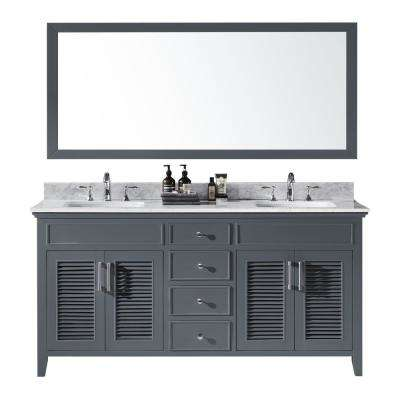 Elise 72 in. W x 22 in. D x 34.21 in. H Bath Vanity in Cashmere Grey With White Marble Top With White Basins and Mirror