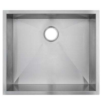 Handmade Undermount Stainless Steel 25 in. x 22 in. x 9 in. Single Bowl Kitchen Sink in Brushed Finish