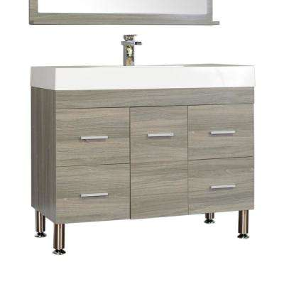 Ripley 39.25 in. W x 18.75 in. D x 33.12 in. H Vanity in Gray with Acrylic Vanity Top in White with White Basin