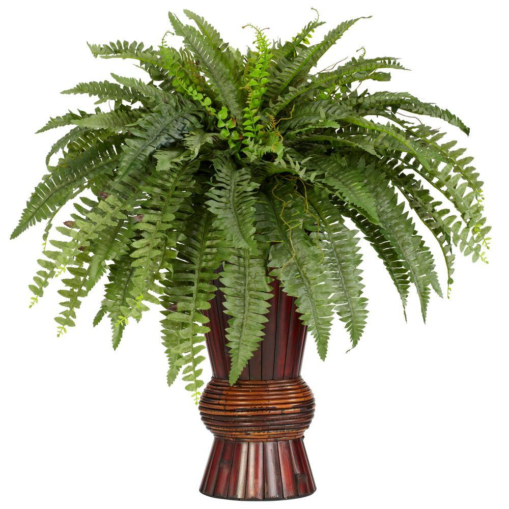 Nearly Natural 33 in. H Green Boston Fern with Bamboo Vase Silk Plant