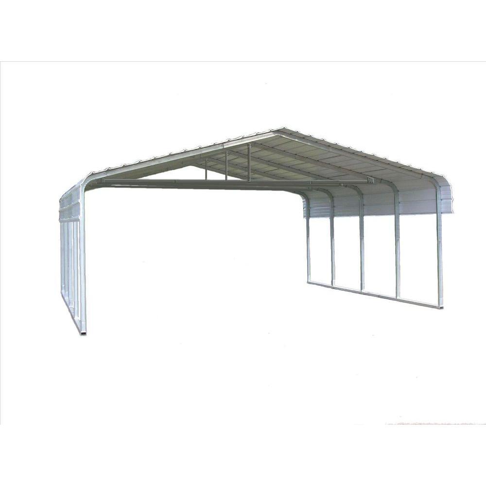24 ft. W x 20 ft. L x 7 ft. H Steel Carport with Truss Bracing