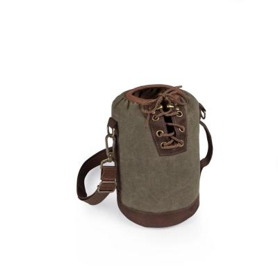 Khaki Green and Brown Insulated Growler Tote