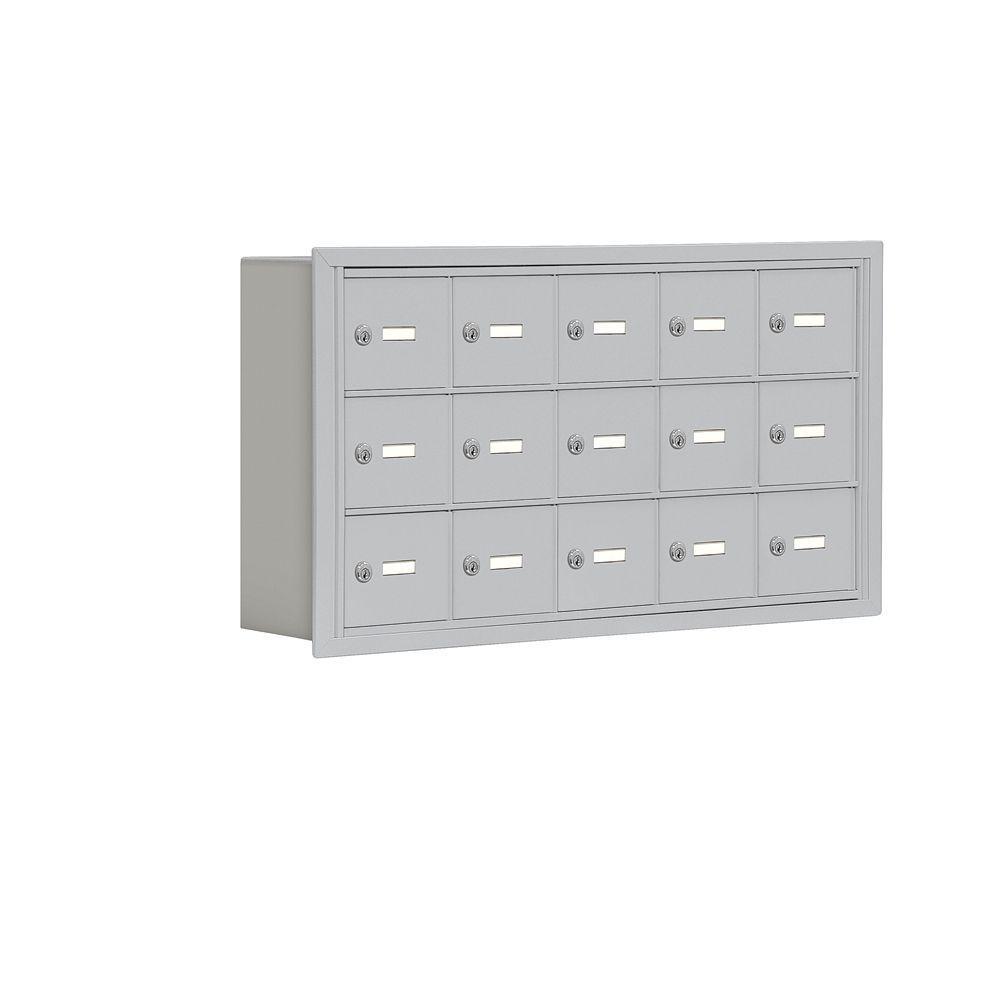 19000 Series 37 in. W x 20 in. H x 5.75 in. D 15 A Doors R-Mount Keyed Locks Cell Phone Locker in Aluminum