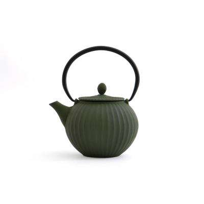 5.6-Cup Dark Green Cast Iron Teapot