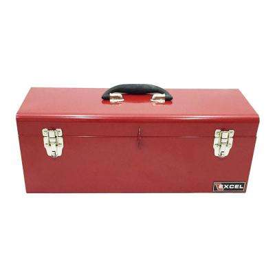 19 in. W x 7.1 in. D x 7.1 in. H Portable Steel Tool Box, Red