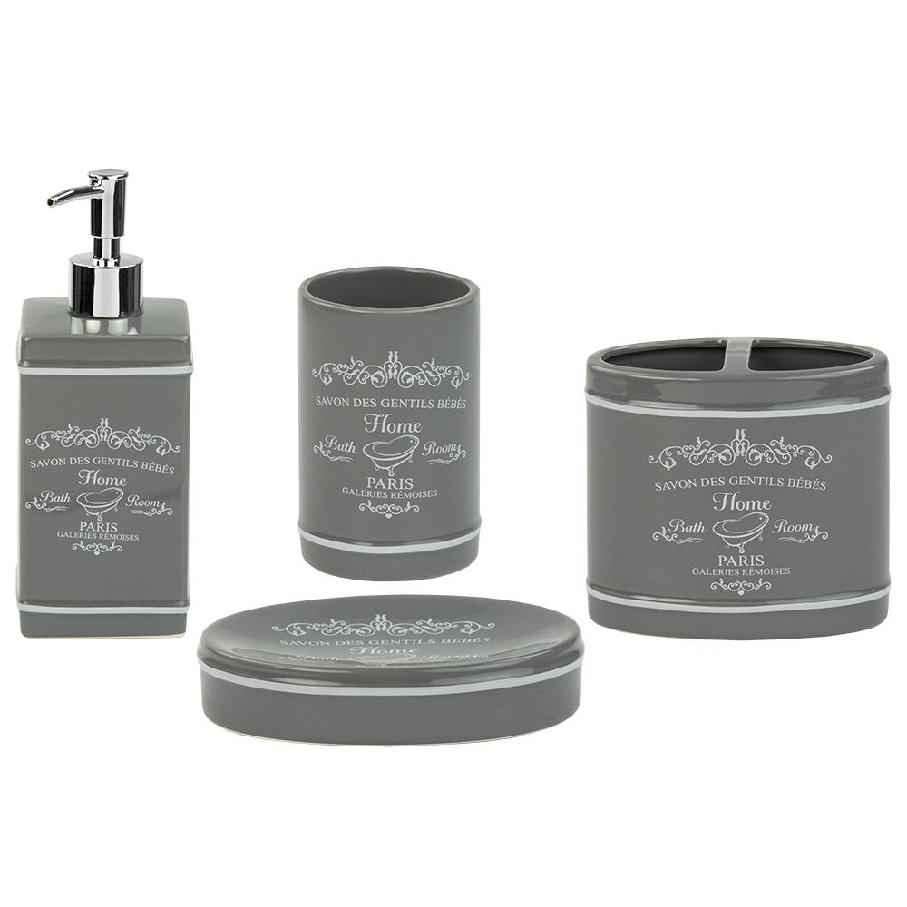 Paris 4-Piece Bath Accessory Set in Grey