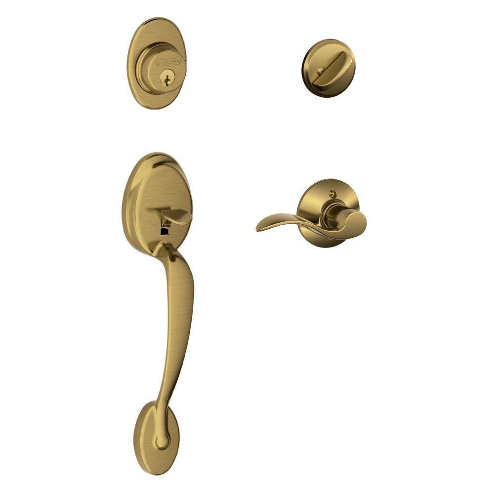 Antique Brass SmartKey Kwikset Arlington Dbl Cylinder Handleset w//Lido Lever
