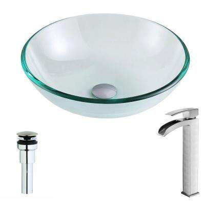 Etude Series Deco-Glass Vessel Sink in Lustrous Clear with Key Faucet in Brushed Nickel