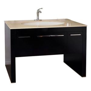 Bellaterra Home Newport 56 inch W Single Vanity in Dark Walnut with Marble Vanity Top in... by Bellaterra Home