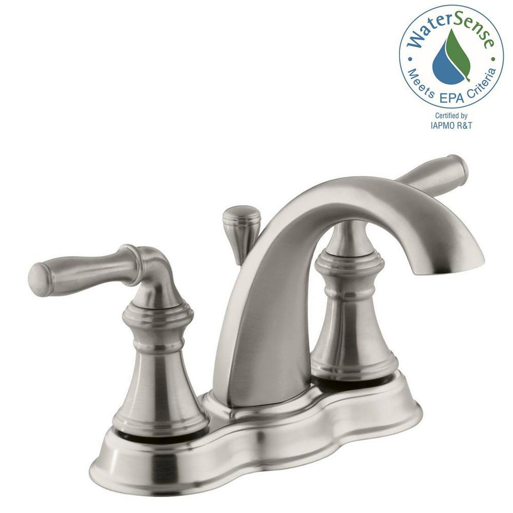 KOHLER Devonshire 4 in. Centerset 2-Handle Mid-Arc Water-Saving Bathroom Faucet in Vibrant Brushed Nickel