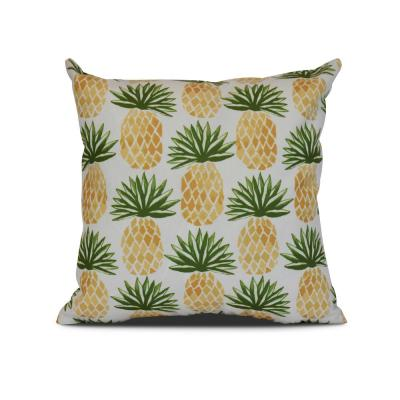 Pineapple Green Graphic 17 in. x 17 in. Throw Pillow