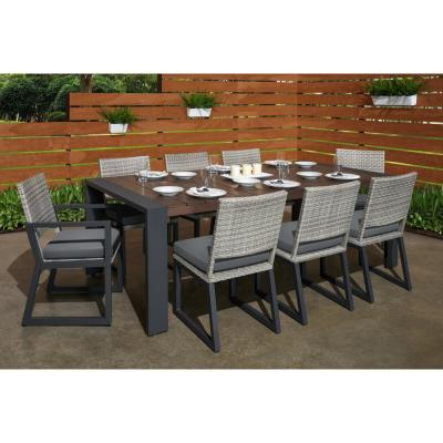 Milo Grey 9-Piece Wicker Outdoor Dining Set with Sunbrella Charcoal Grey Cushions
