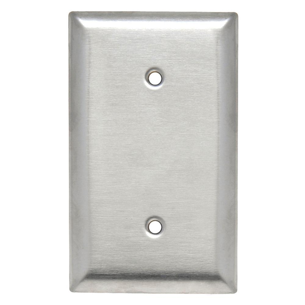 302 Series 1-Gang Blank Wall Plate with 1/2 in. Screws in