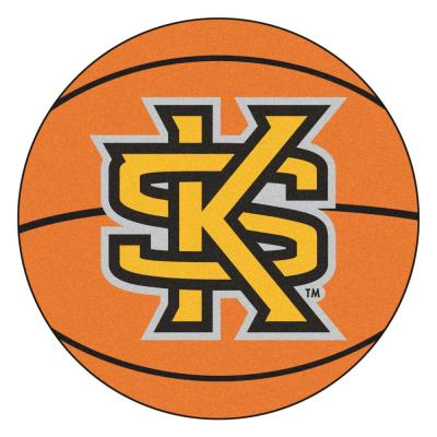 NCAA Kennesaw State University Orange 27 in. Round Basketball Area Rug