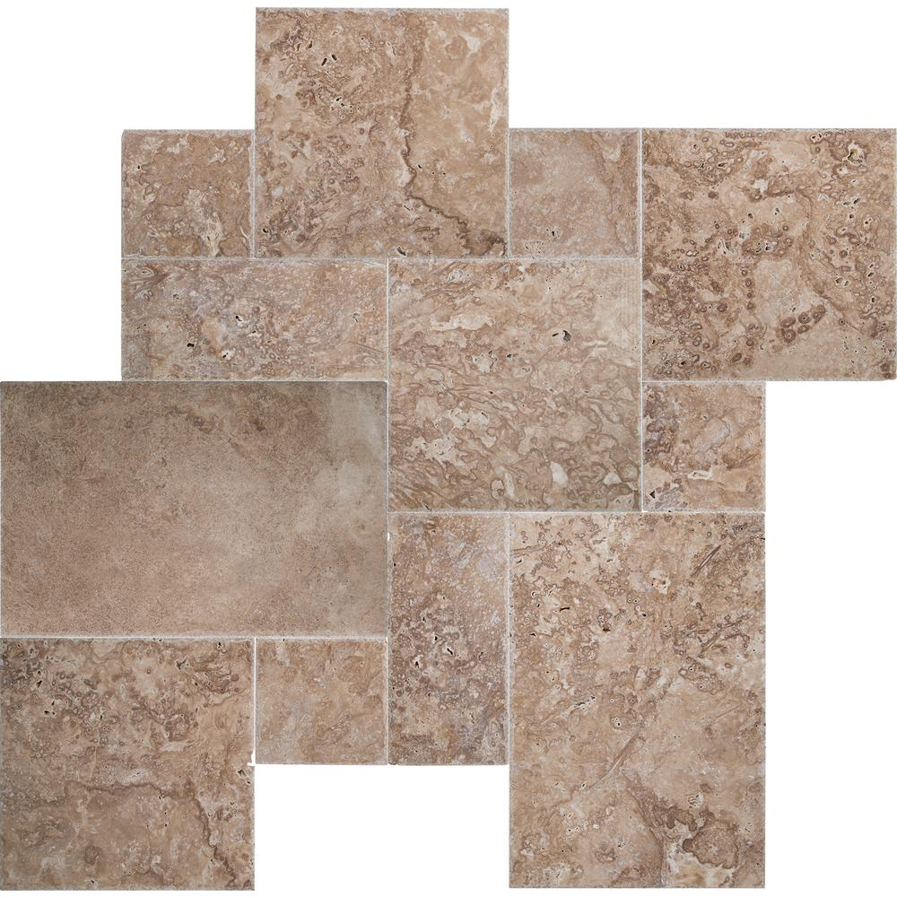 MSI Mediterranean Walnut Pattern Honed-Unfilled-Chipped Travertine Floor and Wall Tile (5 kits / 80 sq. ft. / pallet)