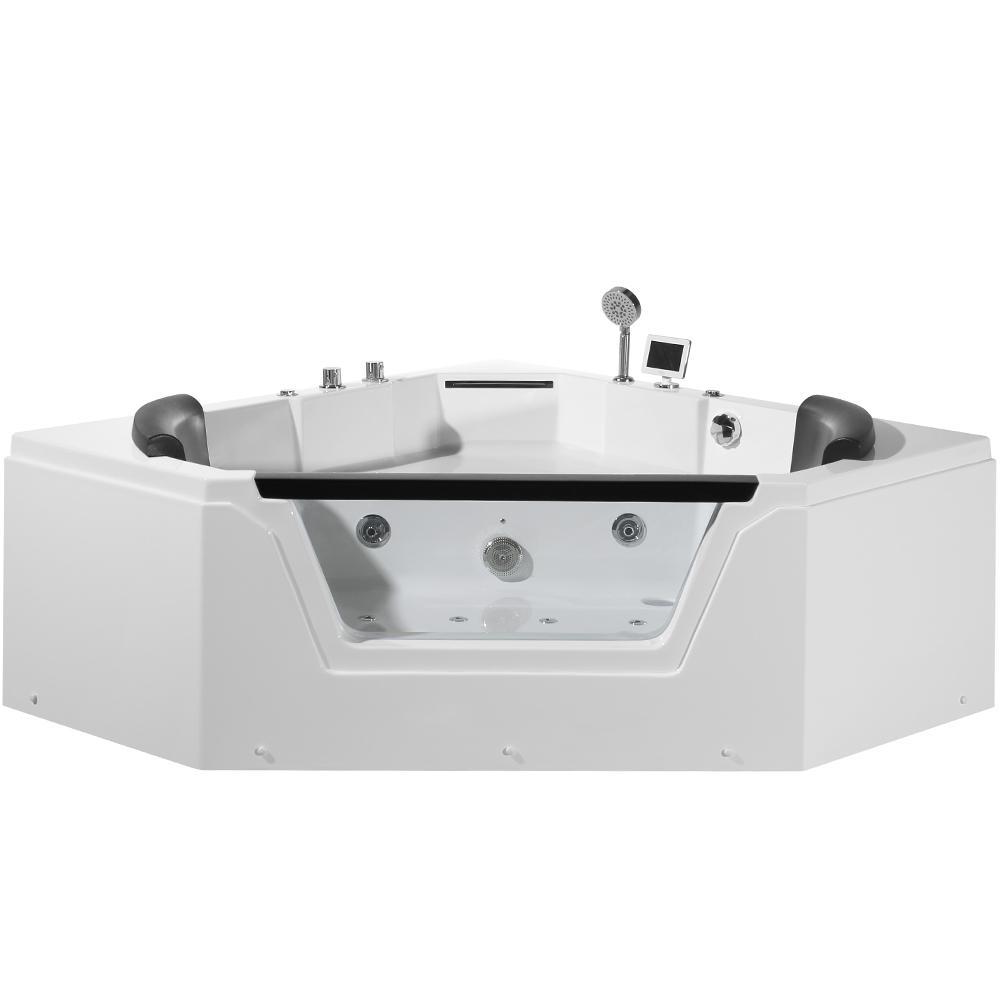 59 in. Acrylic Right Drain Corner Alcove Whirlpool Bathtub in White