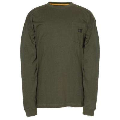 Men's Large Army Moss Cotton Long Sleeved Pocket T-Shirt
