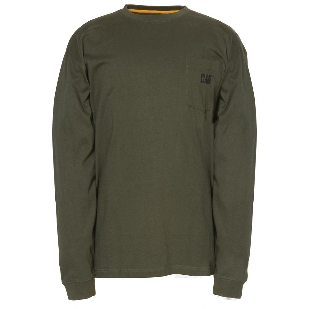 Trademark Men's 2X-Large Army Moss Cotton Long Sleeved Pocket T-Shirt