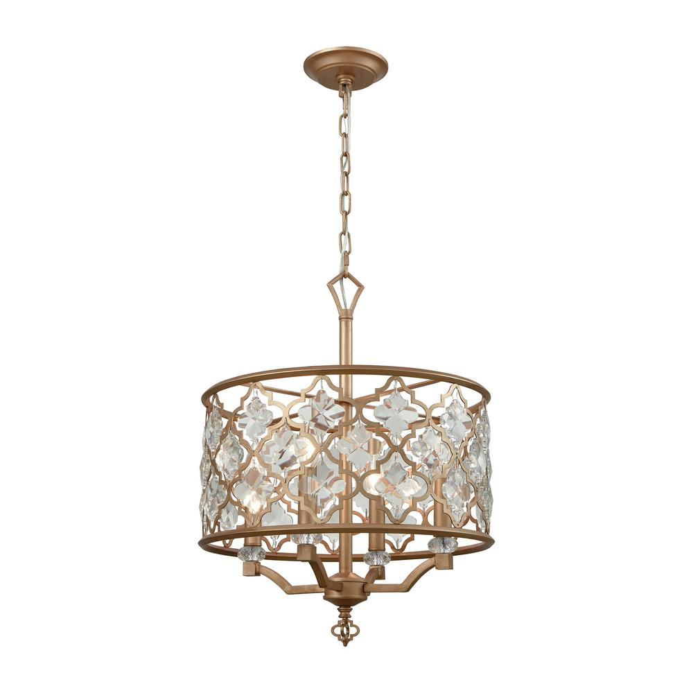 Titan Lighting Armand 4-Light Matte Gold With Clear