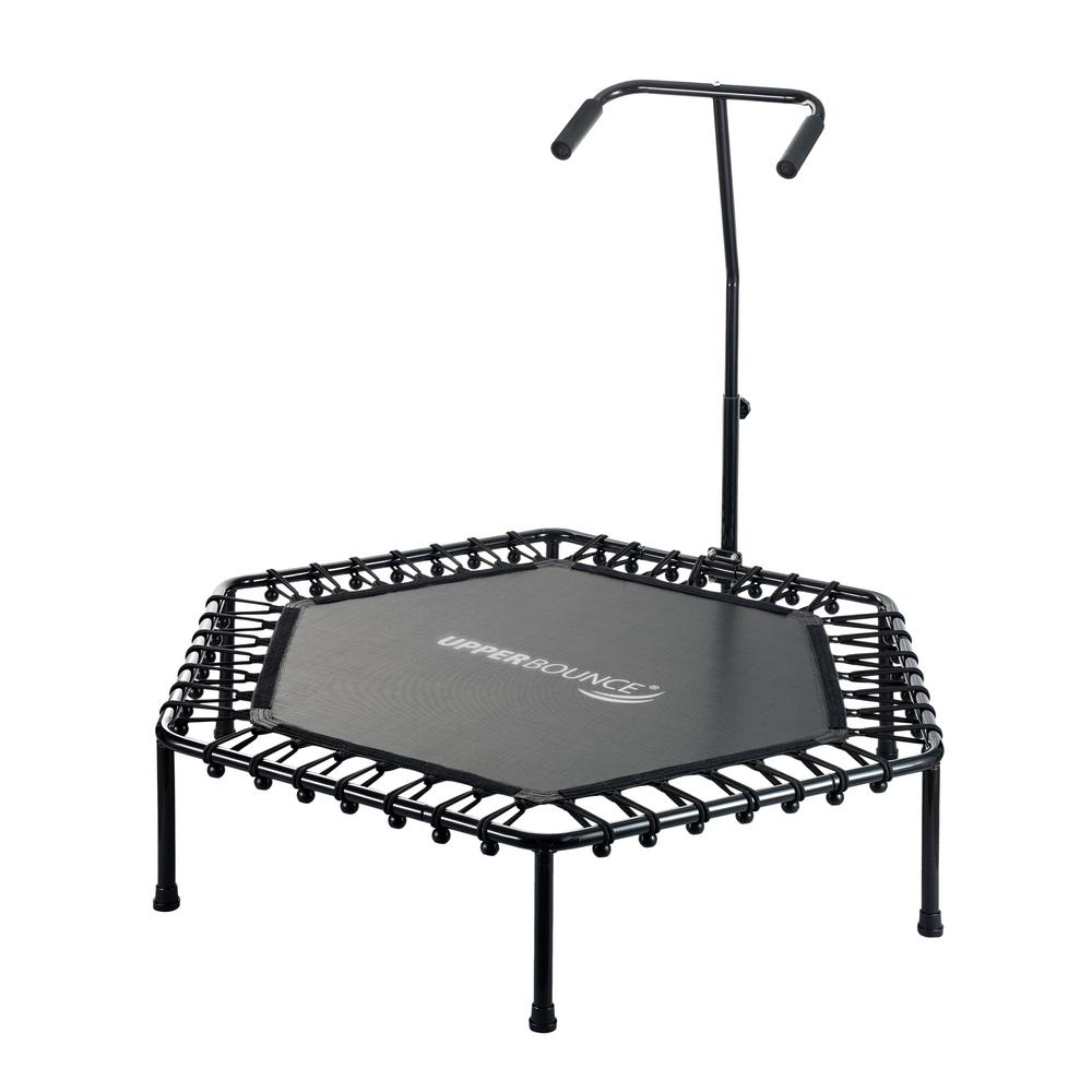 50 in. Hexagonal Fitness Mini-Trampoline with T-Shaped Adjustable Hand Rail and
