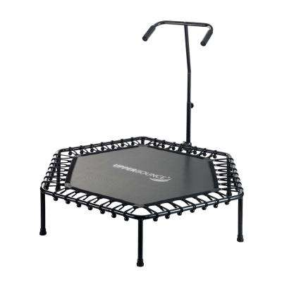 50 in. Hexagonal Fitness Mini-Trampoline with T-Shaped Adjustable Hand Rail and Bungee Cord Suspension