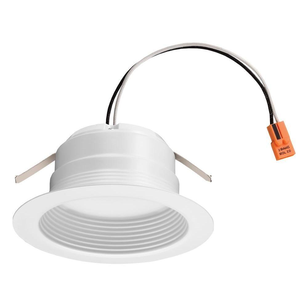 Lithonia Lighting E Series 4 In Matte White 4000k Color Temperature Dimmable Integrated Led Recessed Downlight Retrofit Baffle Trim