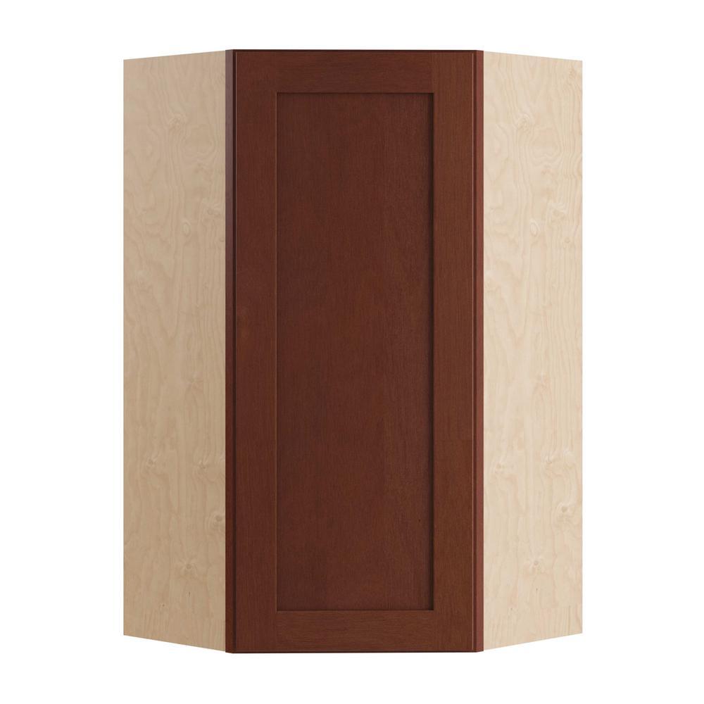 Kingsbridge Assembled 24x36x12 in. Single Door Hinge Left Wall Kitchen Angle Cabinet in Cabernet