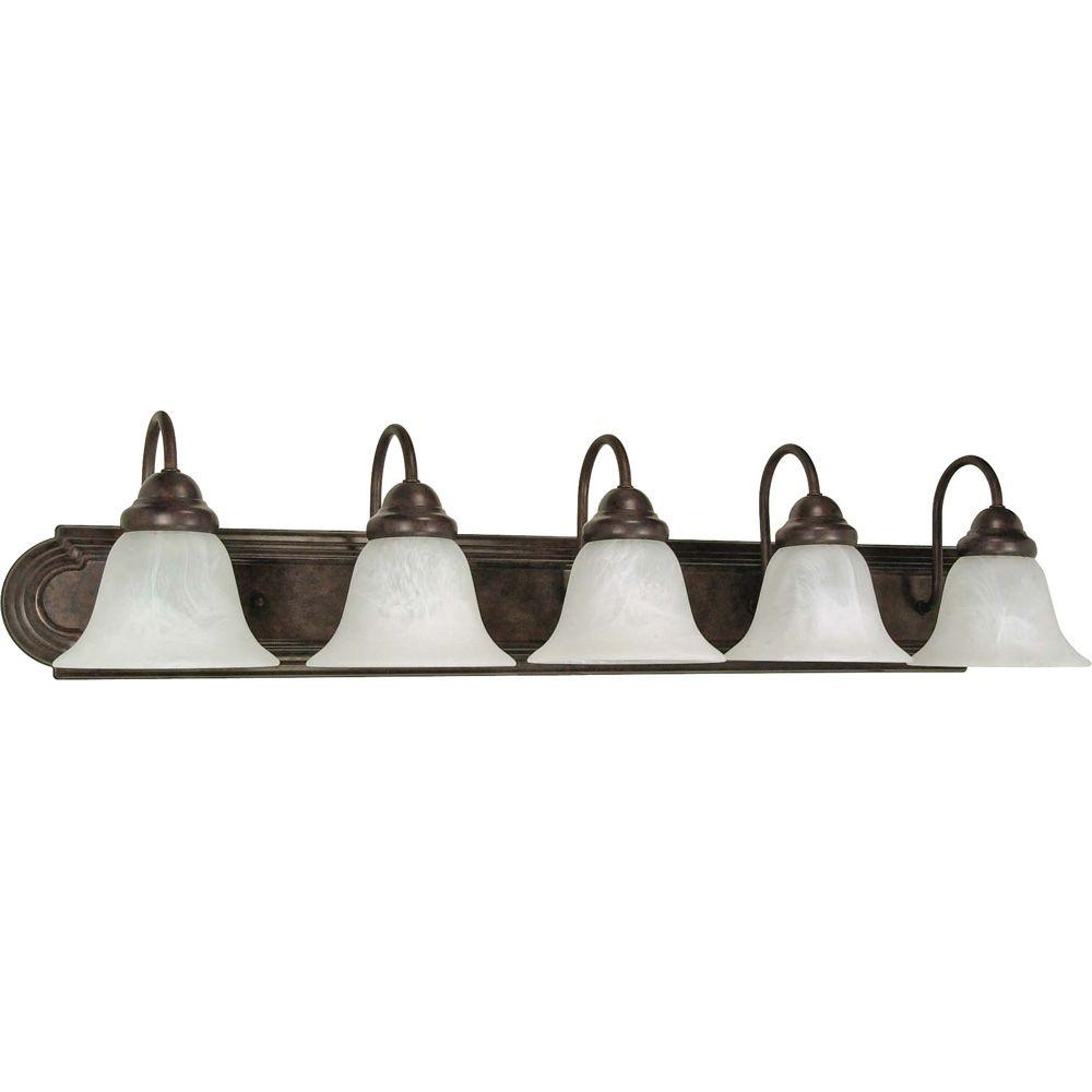 Sophrosyne 5-Light Old Bronze Bath Vanity Light with Alabaster Glass  sc 1 st  The Home Depot & Design House Kimball 3-Light Textured Coffee Bronze Indoor Vanity ... azcodes.com