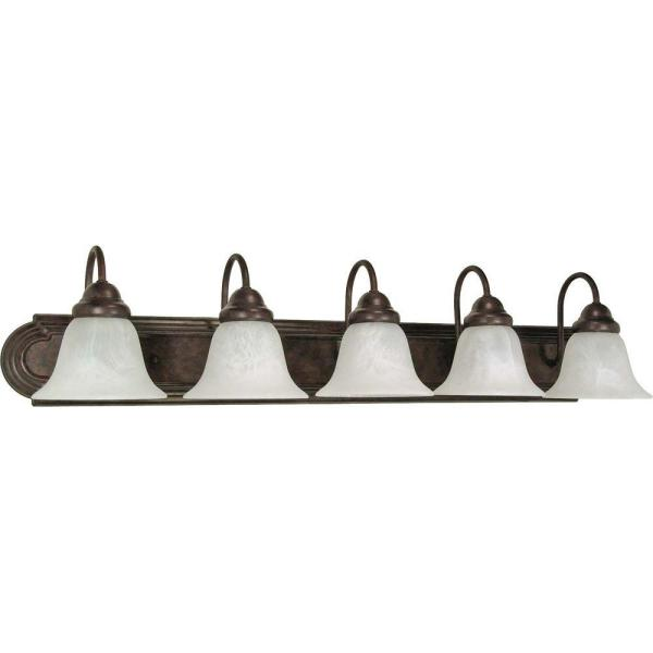Sophrosyne 5-Light Old Bronze Bath Vanity Light with Alabaster Glass