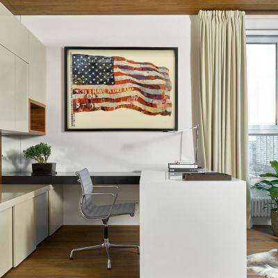 "40 in. x 30 in. ""Old Glory"" Dimensional Collage Framed Graphic Art Under Glass"