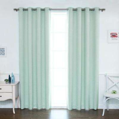 84 in. L Polyester Small Houndstooth Room Darkening Curtains in Mint (2-Pack)