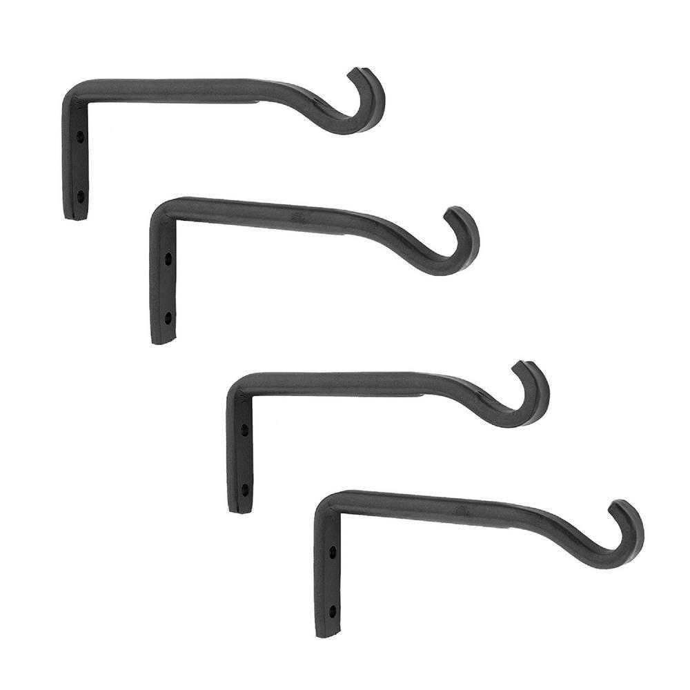 5.25 in. W Black Powder Coat Metal Trellis Wall Brackets (Set of 4)