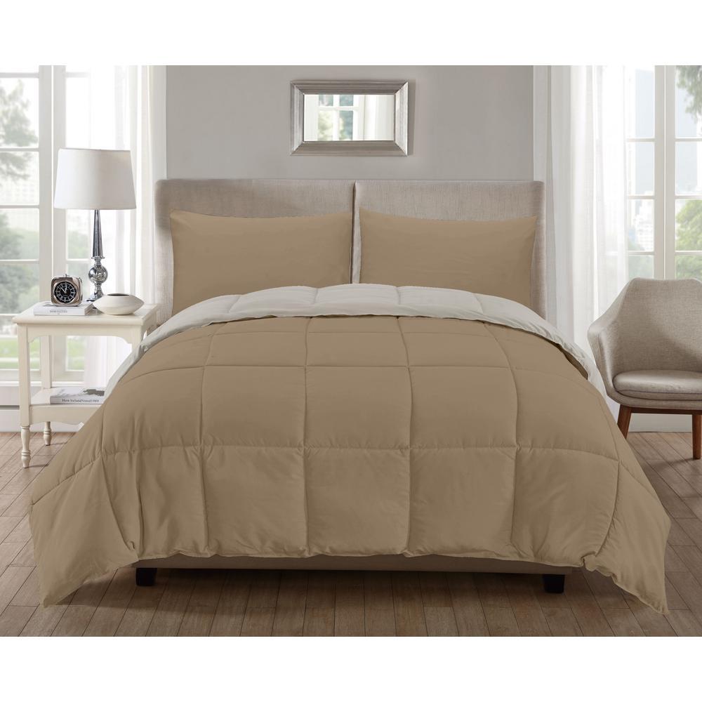 Jackson 3-Piece Khaki-Off-White Full Comforter Set