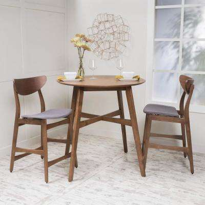 3-Piece Natural Walnut Wood and Dark Gray Fabric Counter Height Dining Set
