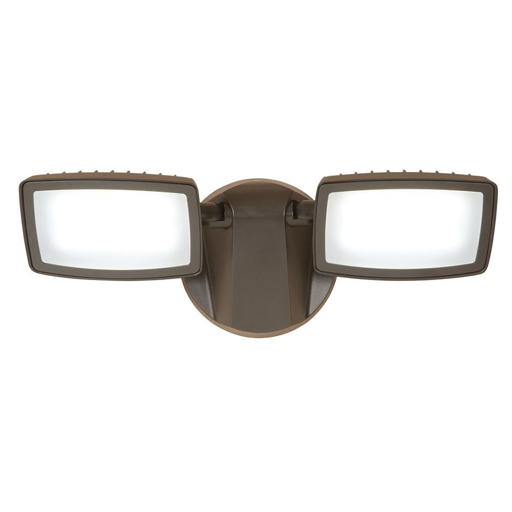 2850 24.4-Watt Twin-Head Bronze Outdoor Integrated LED Dusk to Dawn Flood