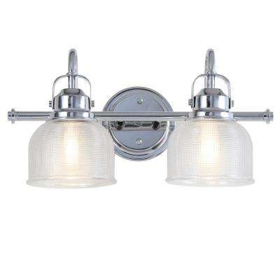 Virginia 17.25 in. 2-Light Metal/Glass LED Chrome Vanity Light