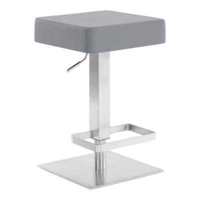Dwyn Contemporary Adjustable 25-33.5 in. Swivel Barstool in Brushed Stainless Steel and Grey Faux Leather