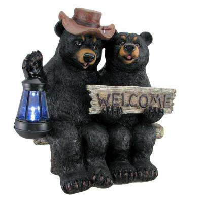 So Happy Together Black Bear Couple Solar Welcome Garden Statue