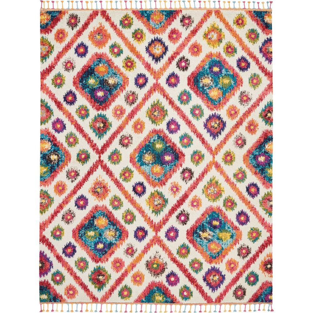 Moroccan Casbah 9' x 12' White Multicolor Colorful Area Rug