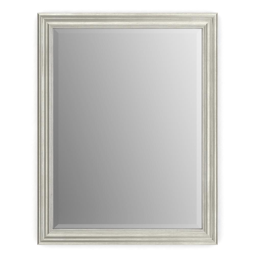 23 in. W x 33 in. H (S2) Framed Rectangular Deluxe Glass Bathroom Vanity Mirror in Vintage Nickel