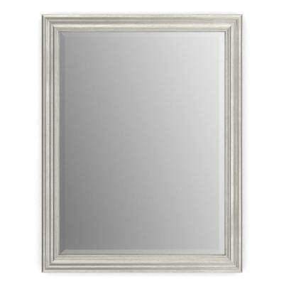 23 in. x 33 in. (S2) Rectangular Framed Mirror with Deluxe Glass and Float Mount Hardware in Vintage Nickel