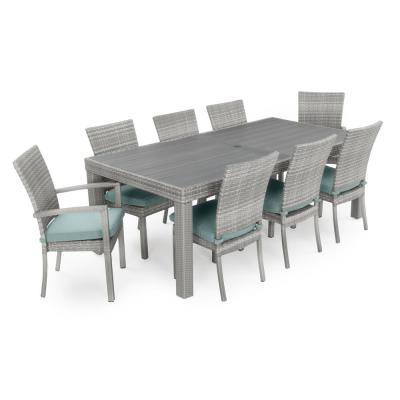 Cannes 9-Piece Patio Wicker Outdoor Dining Set with Sunbrella Spa Blue Cushions