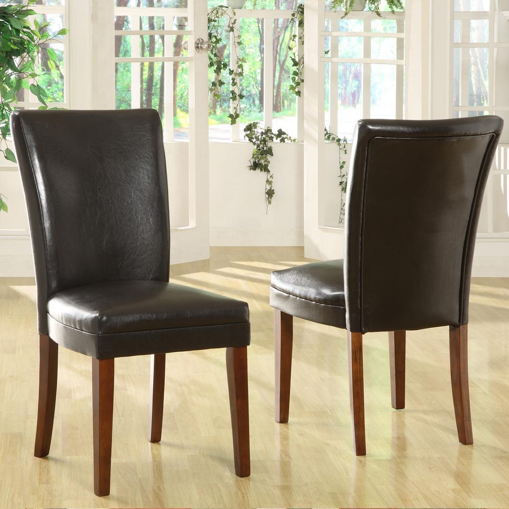 HomeSullivan Black Bicast Leather Dining Chair (Set of 2)
