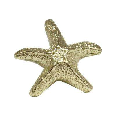 1-3/4 in. Polished Gold Starfish Cabinet Hardware Knob