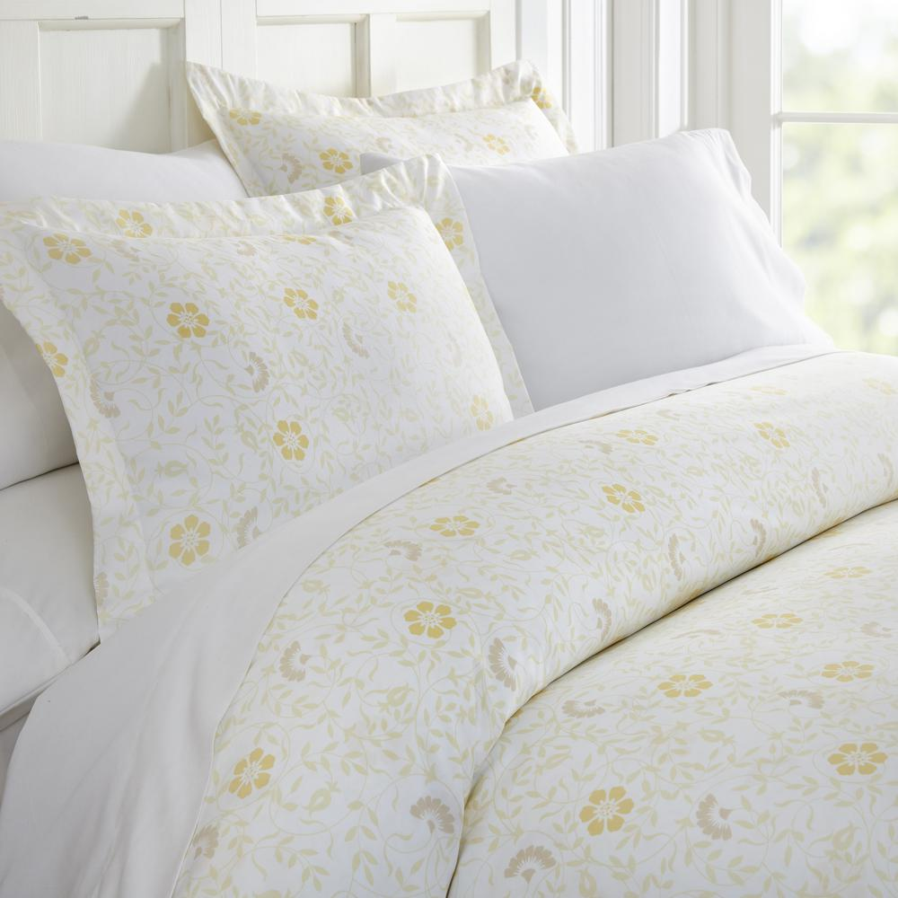 Spring Vines Patterned Performance White Queen 3-Piece Duvet Cover Set