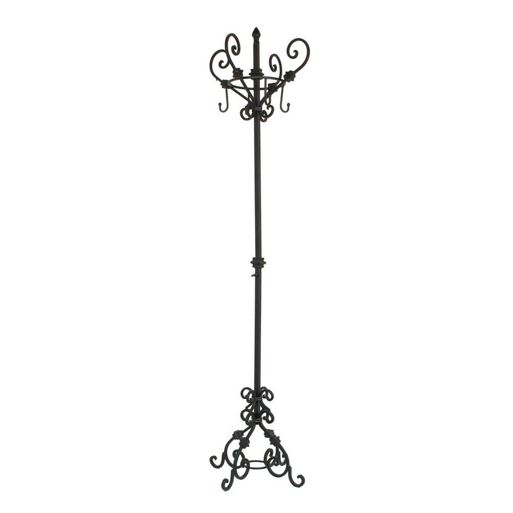 THREE HANDS 73 in. Black Metal Coat Rack Stand 10451 - The Home Depot