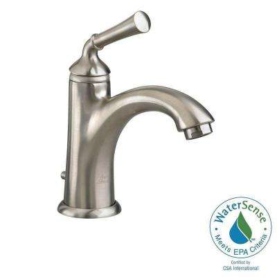 Portsmouth Monoblock Single Hole Single Handle Mid-Arc Bathroom Faucet in Brushed Nickel with Speed Connect Drain