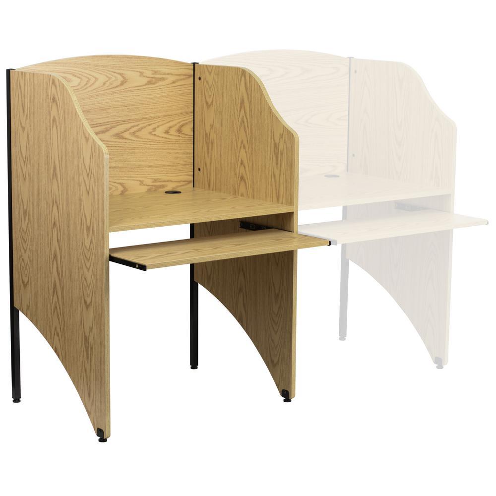 FLASH Furniture Starter Study Carrel in Oak, Brown