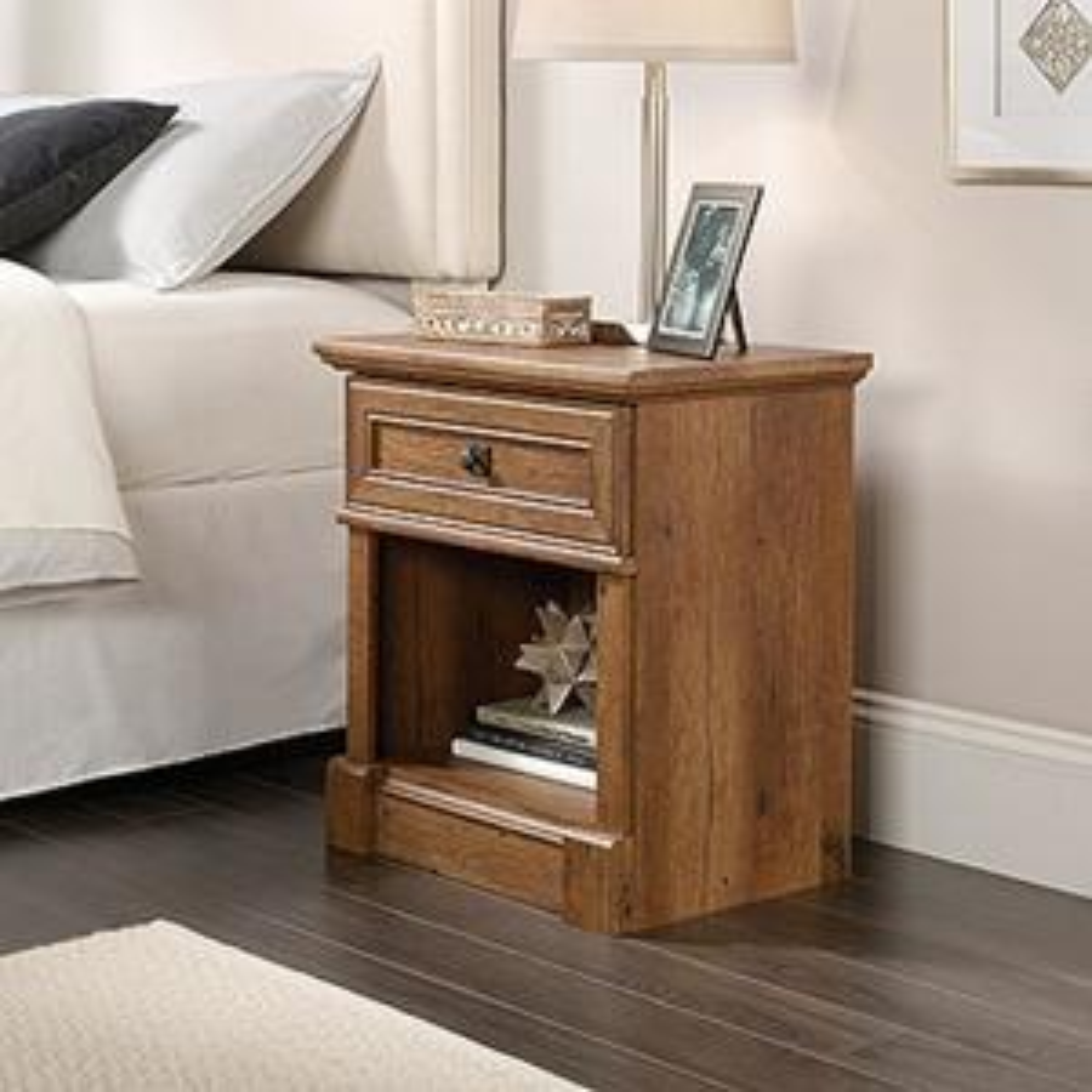 sauder palladia 1 drawer vintage oak nightstand 420610 the home depot. Black Bedroom Furniture Sets. Home Design Ideas