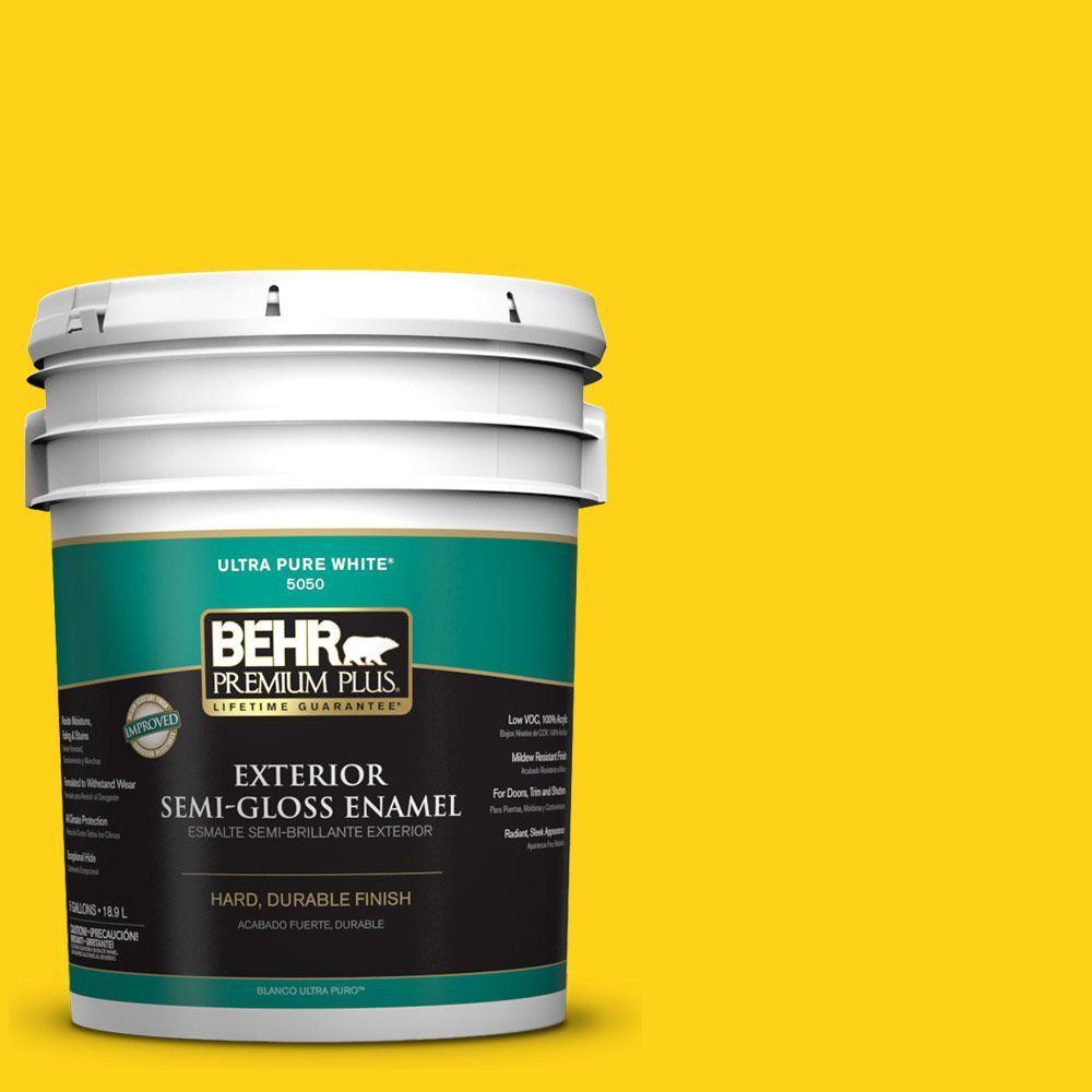 BEHR Premium Plus 5-gal. #S-G-390 Lemon Zest Semi-Gloss Enamel Exterior Paint